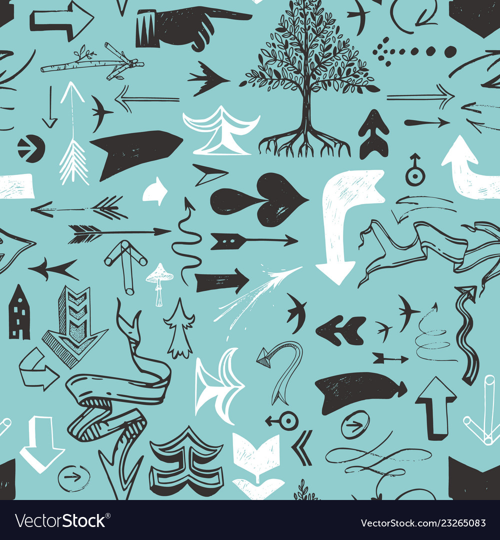 Pattern with various typographic arrows