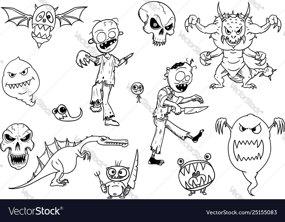 Set cartoon halloween monsters like zombie