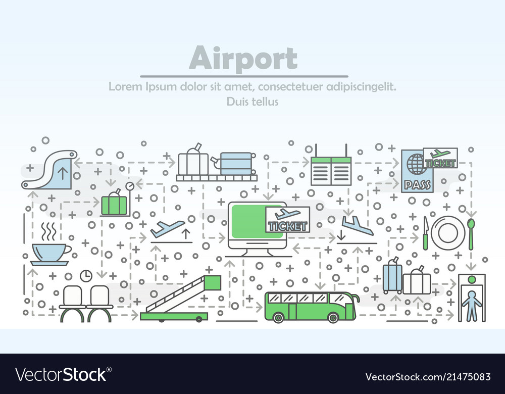 Thin line airport poster banner template