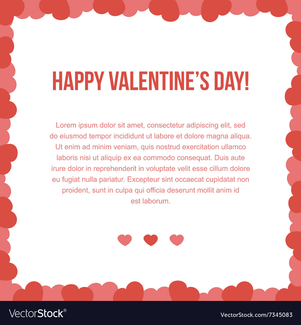 Valentines Day Card Template Royalty Free Vector Image