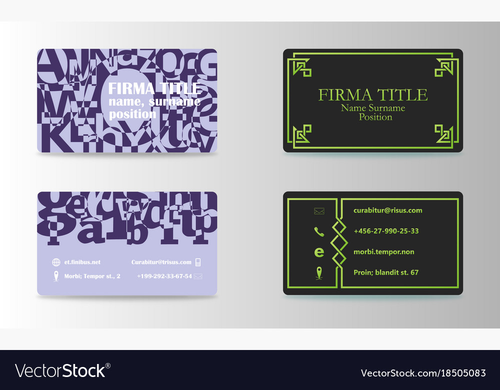 Visiting cards set collection business card set