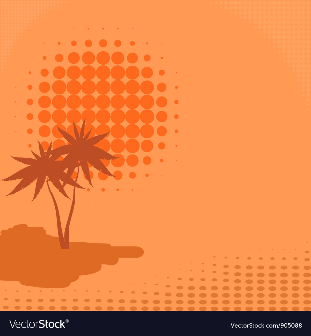 Background with palm trees and sun