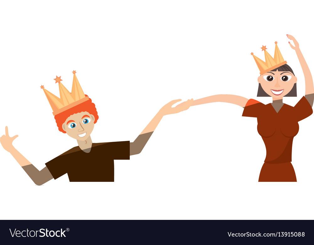 Cartoon couple dancing cheerful
