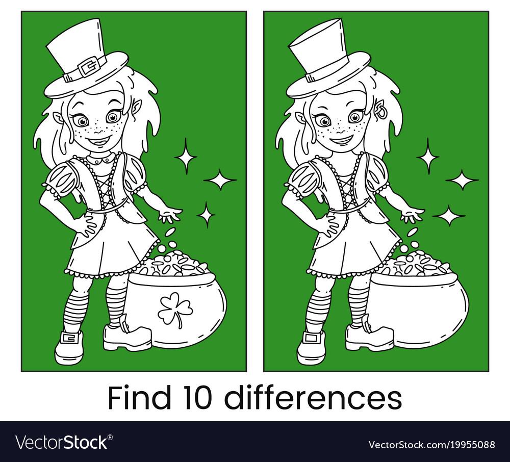 Cute cartoon irish leprechaun girl vector image