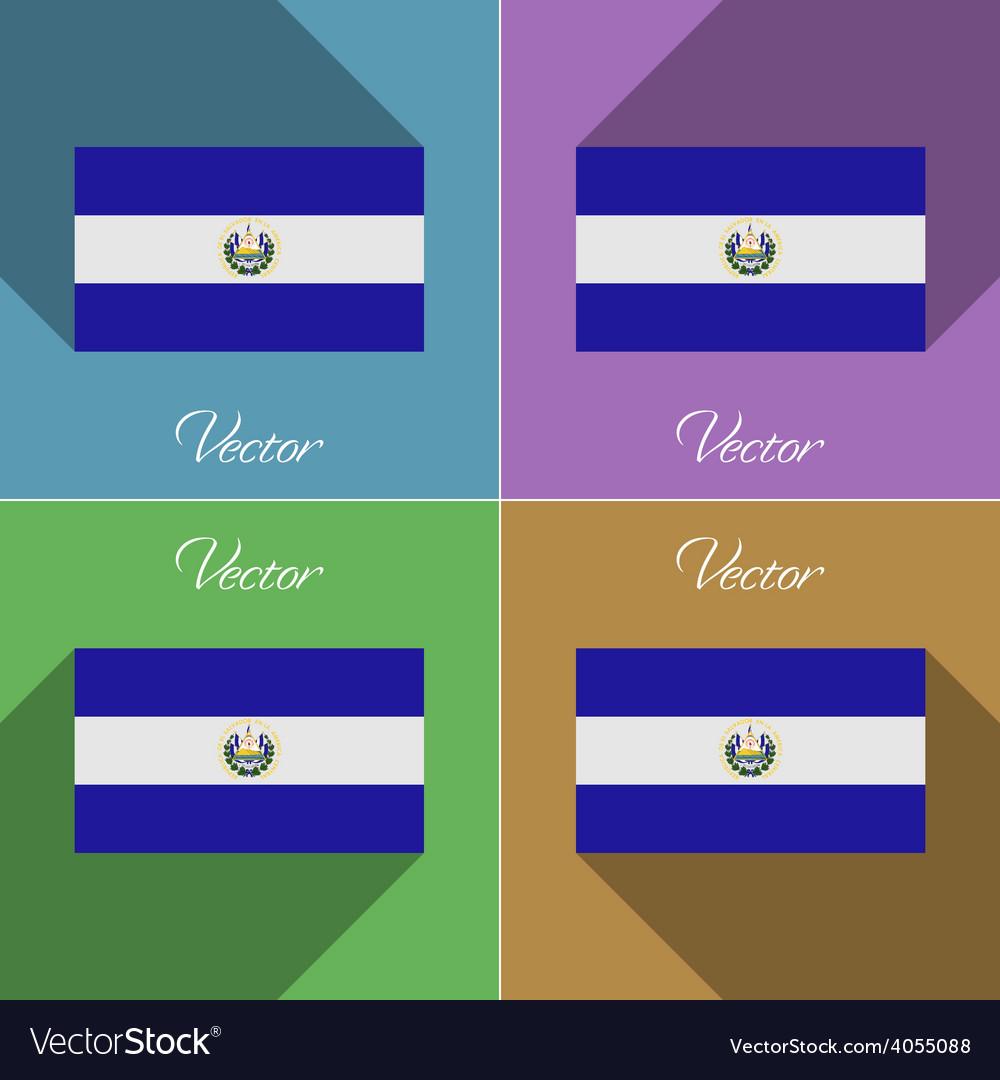 Flags El Salvador Set of colors flat design and