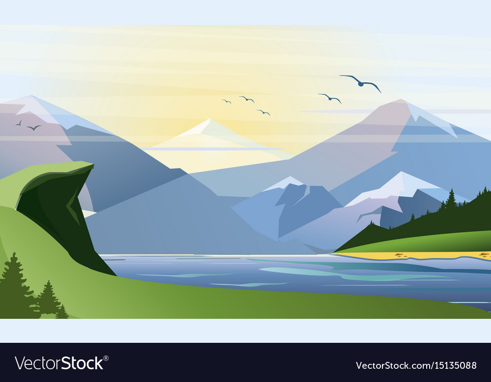 Flat of nature background with