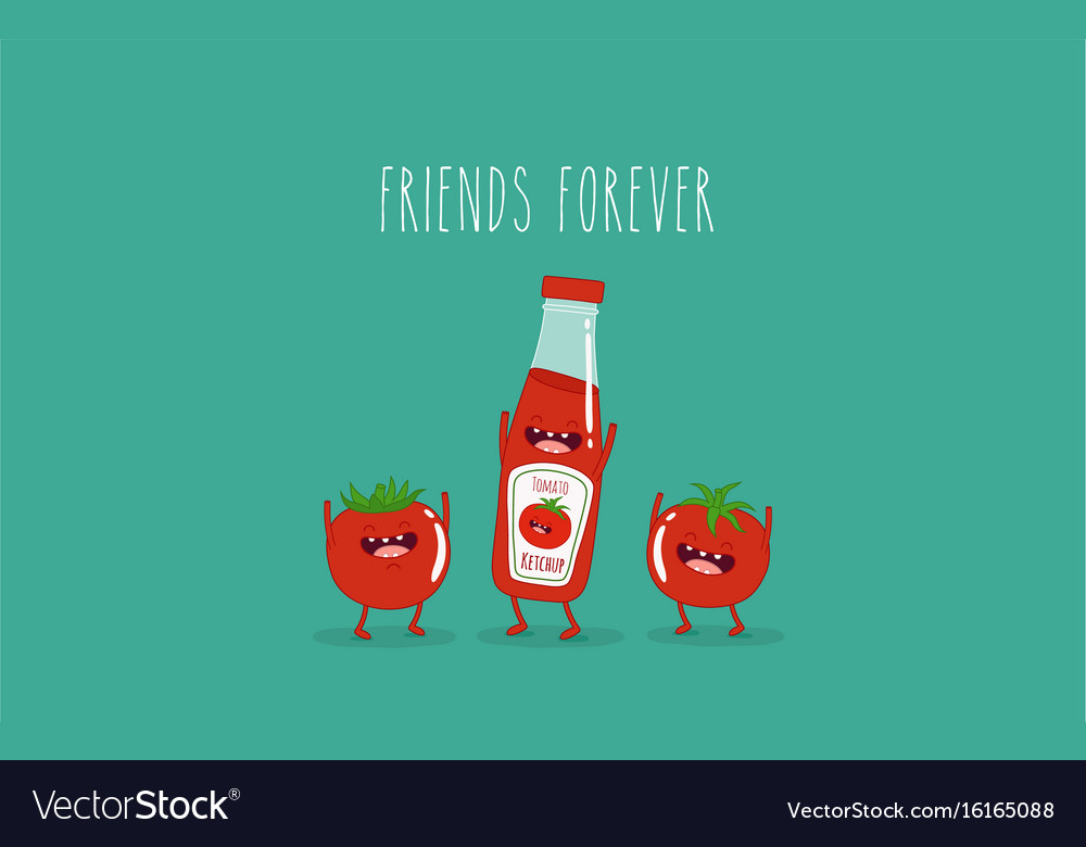 Funny tomato ketchup and tomato friend forever