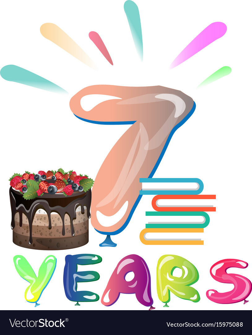 Happy seventh birthday anniversary vector image