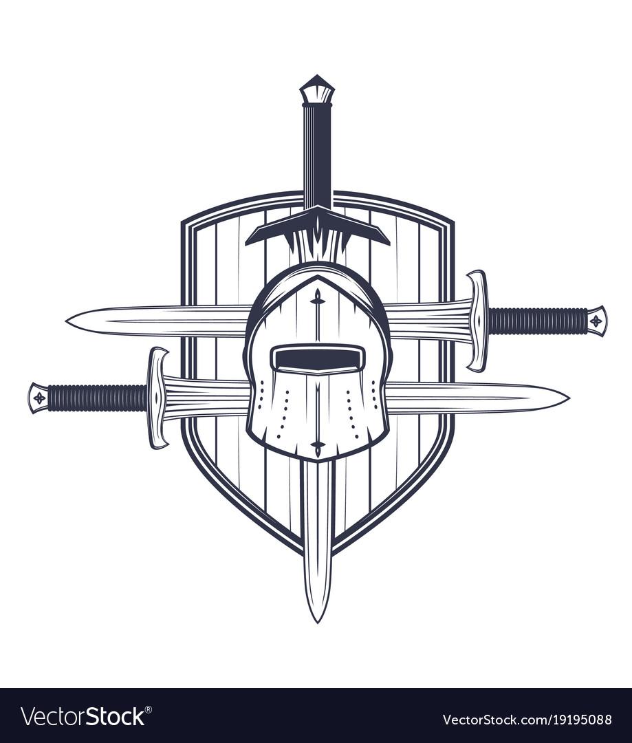 Medieval helmet swords and shield