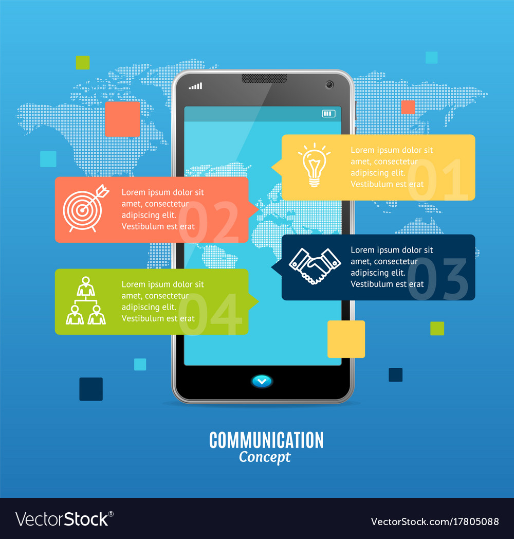 Realistic 3d messenger communication concept