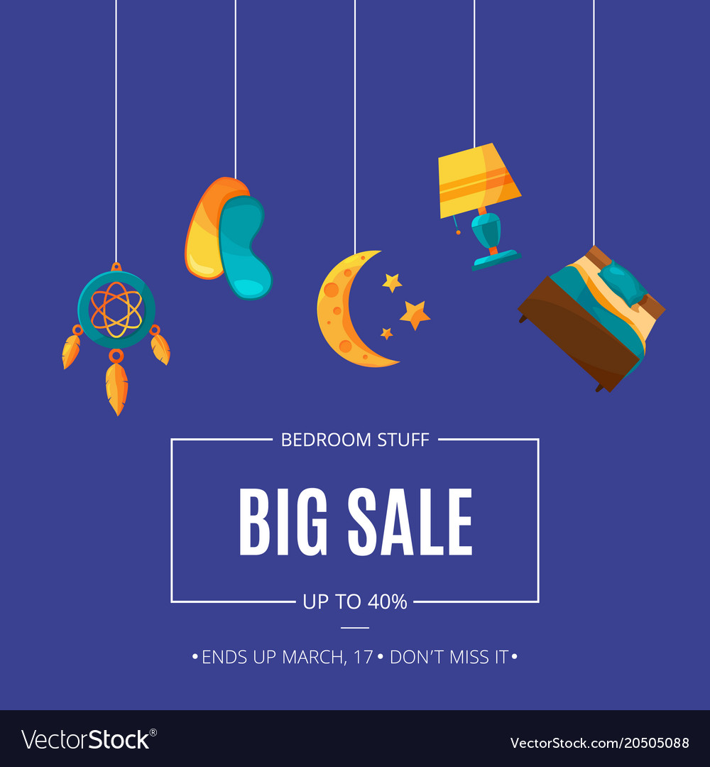 Sale background with cartoon sleep elements