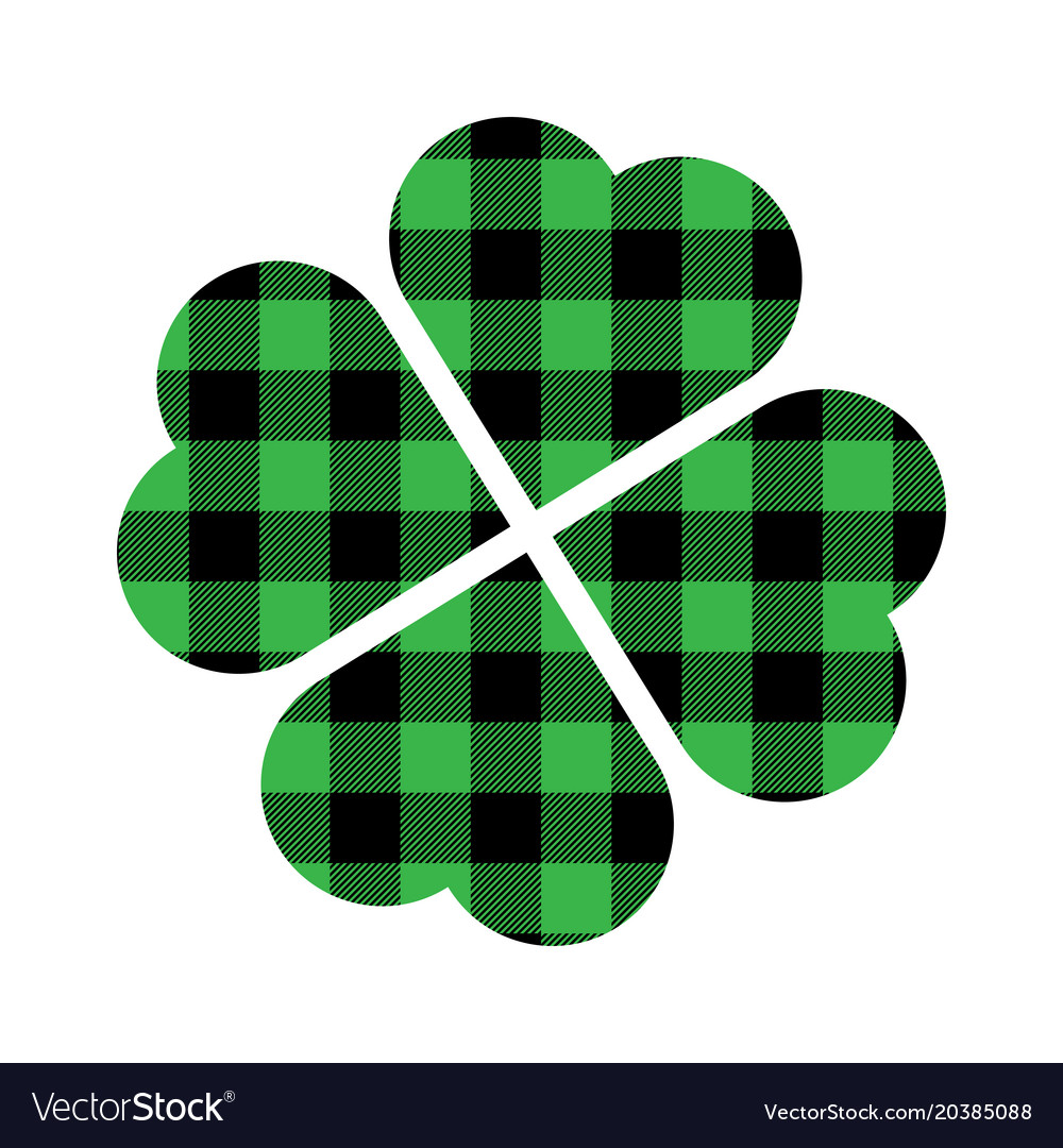 Shamrock Four Leaf Clover Icon Green And Black Vector Image