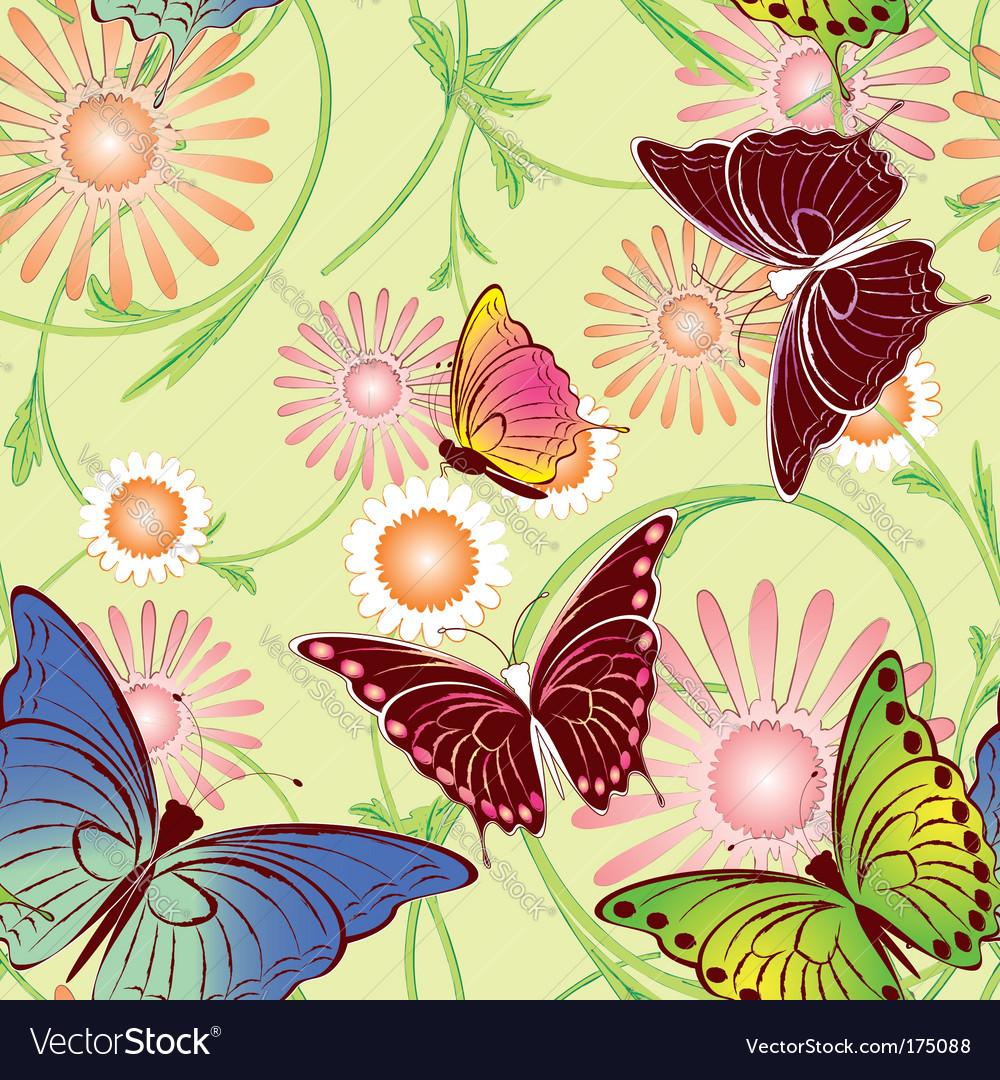 Springtime butterfly seamless pattern