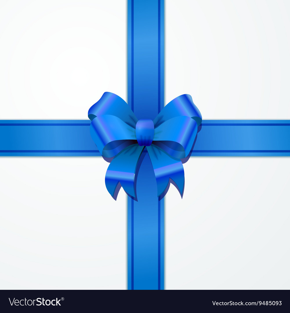 Bright blue bow-knot with tape on white