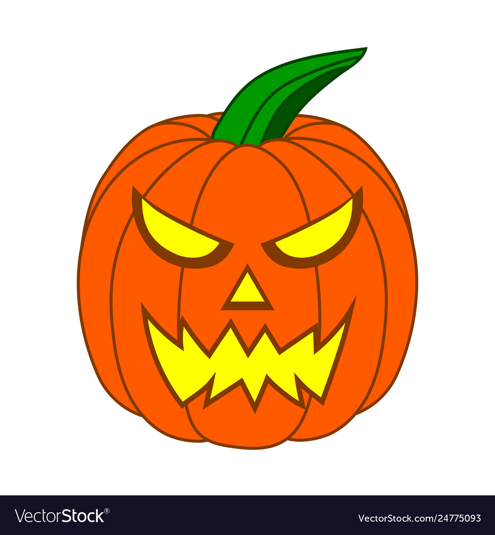 Cute cartoon halloween pumpkin with funny face