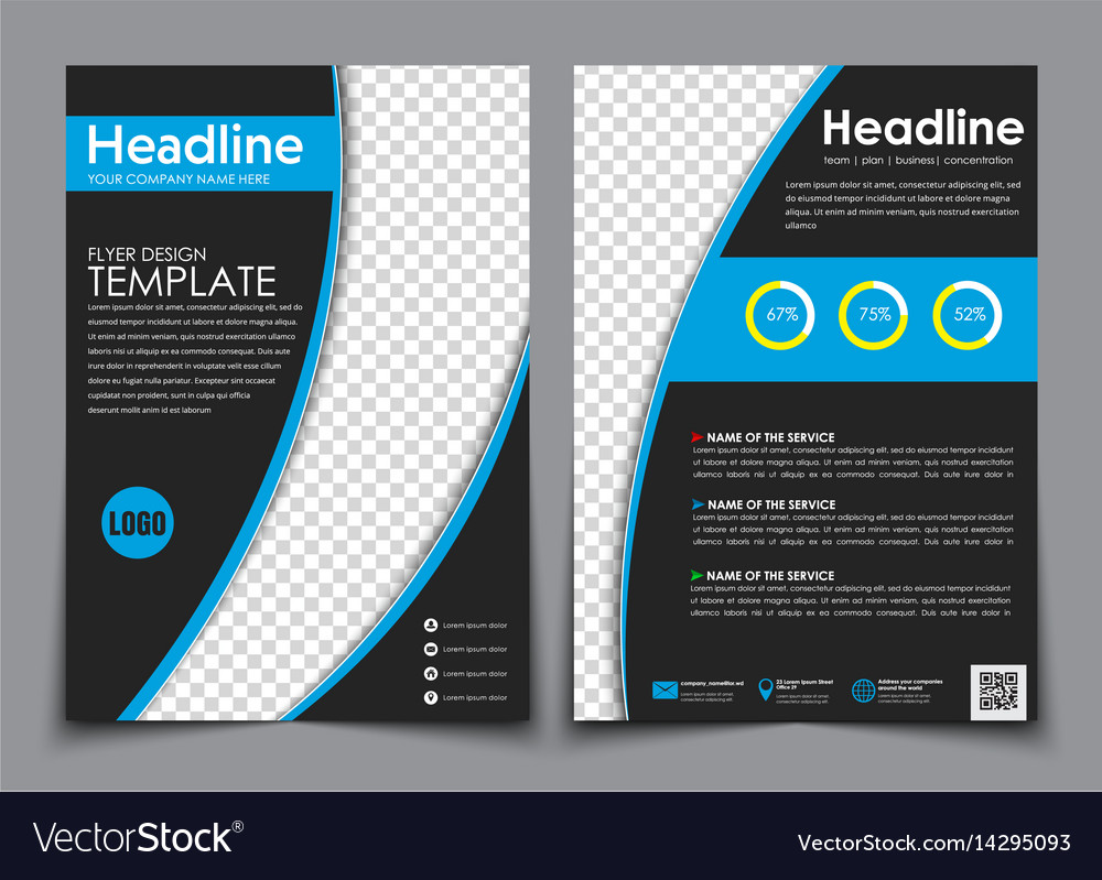 design flyers black with blue elements for vector image