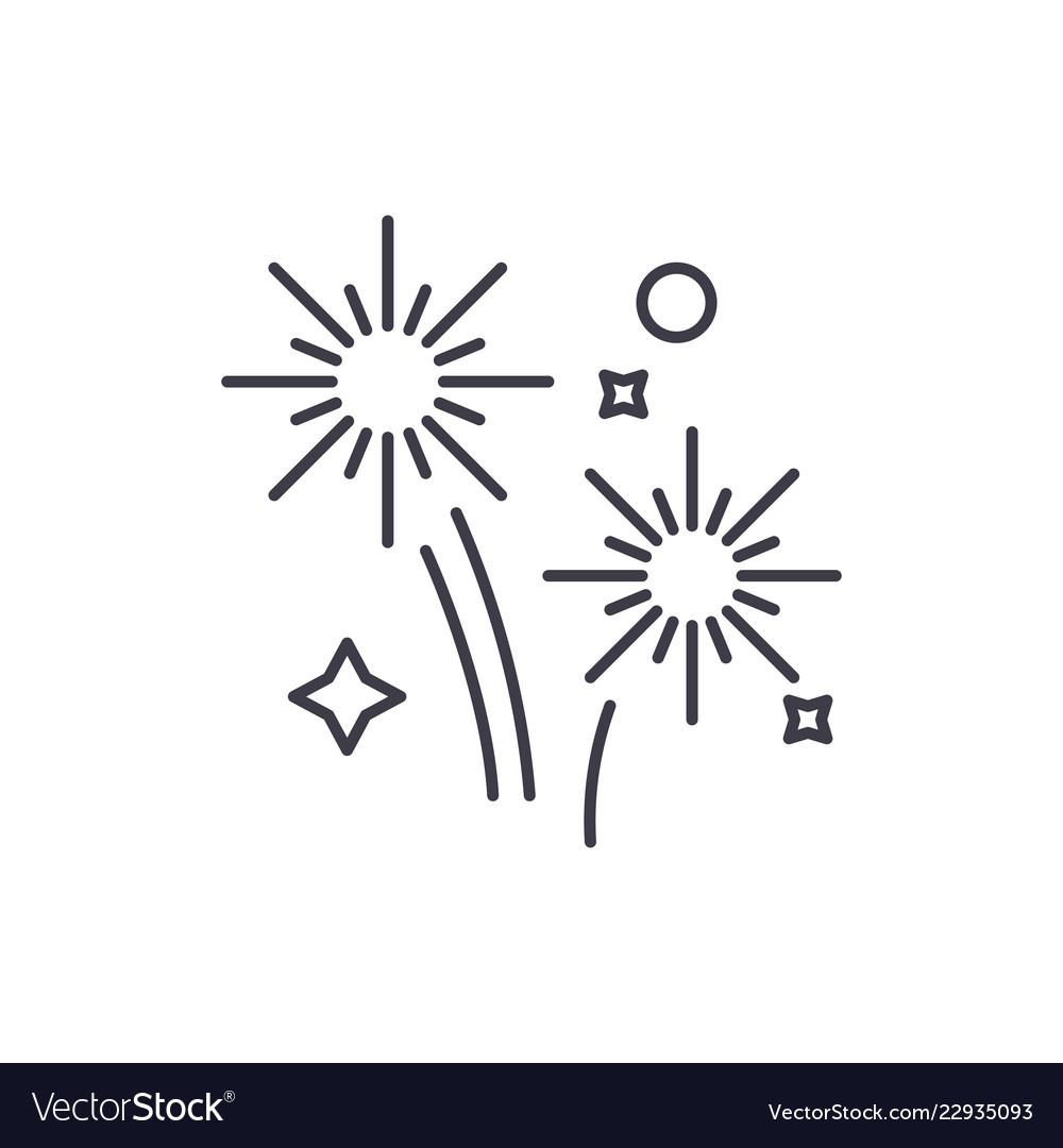 Fireworks holidays line icon concept fireworks Vector ImageFireworks Icon