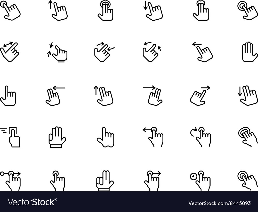 Hand Gesture Line Icons 1 vector image