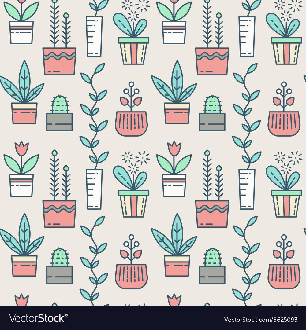 Line houseplants icons seamless pattern