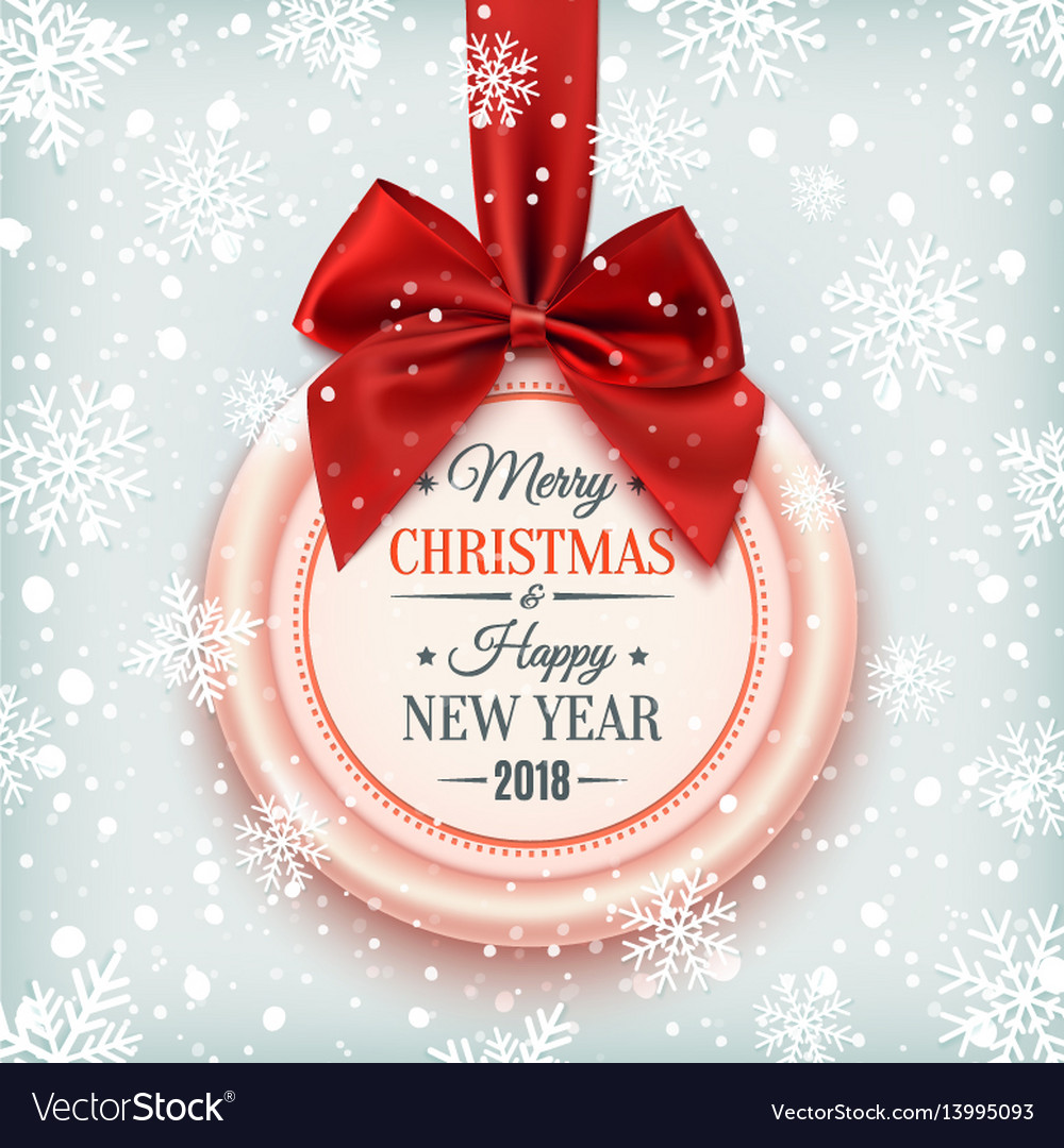 merry christmas and happy new year 2018 badge vector image - Merry Christmas And Happy New Year