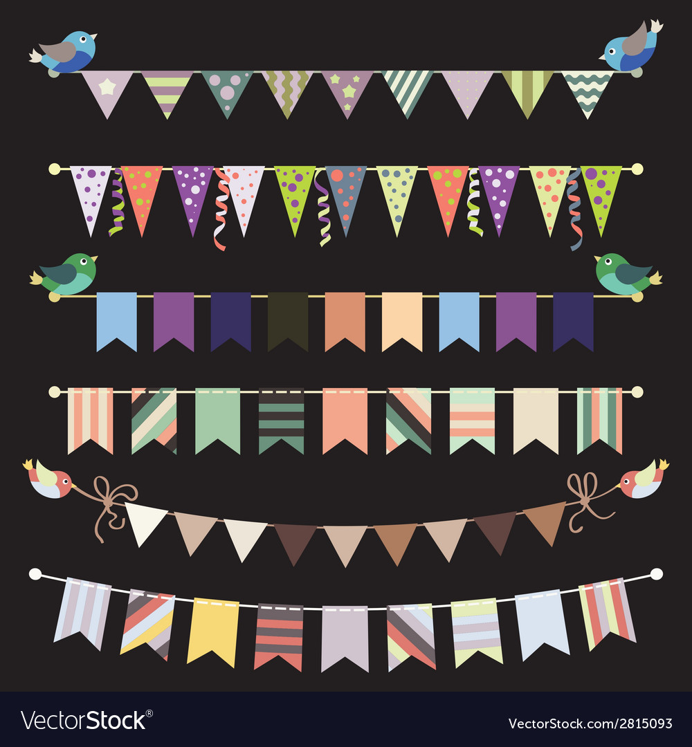Retro bunting and garland set template for design vector image maxwellsz