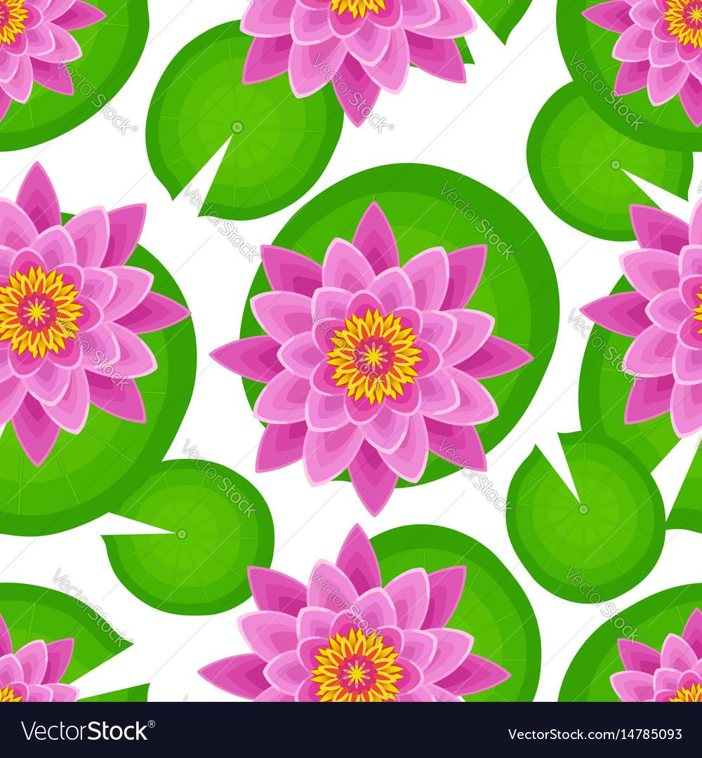 Seamless pattern with pink lotus