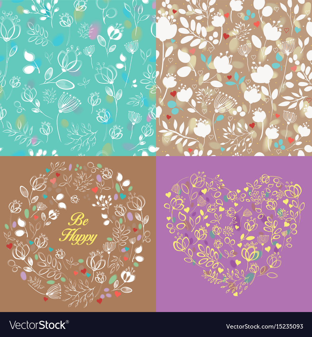 Spring drawing floral patterns set vector image