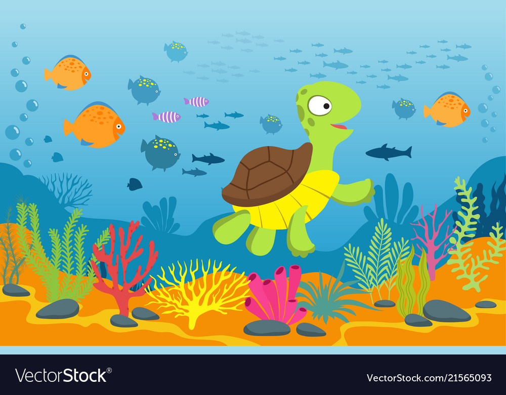Turtle in underwater scene tortoise seaweeds and