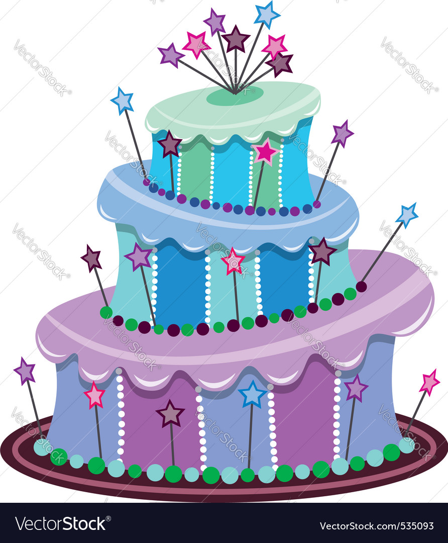 Outstanding Vector Big Birthday Cake Royalty Free Vector Image Personalised Birthday Cards Veneteletsinfo