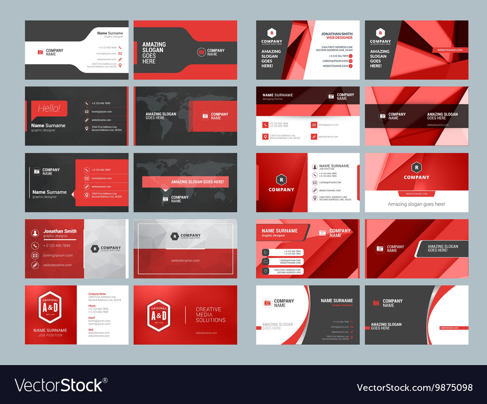 Business card templates stationery design set red vector image reheart Choice Image