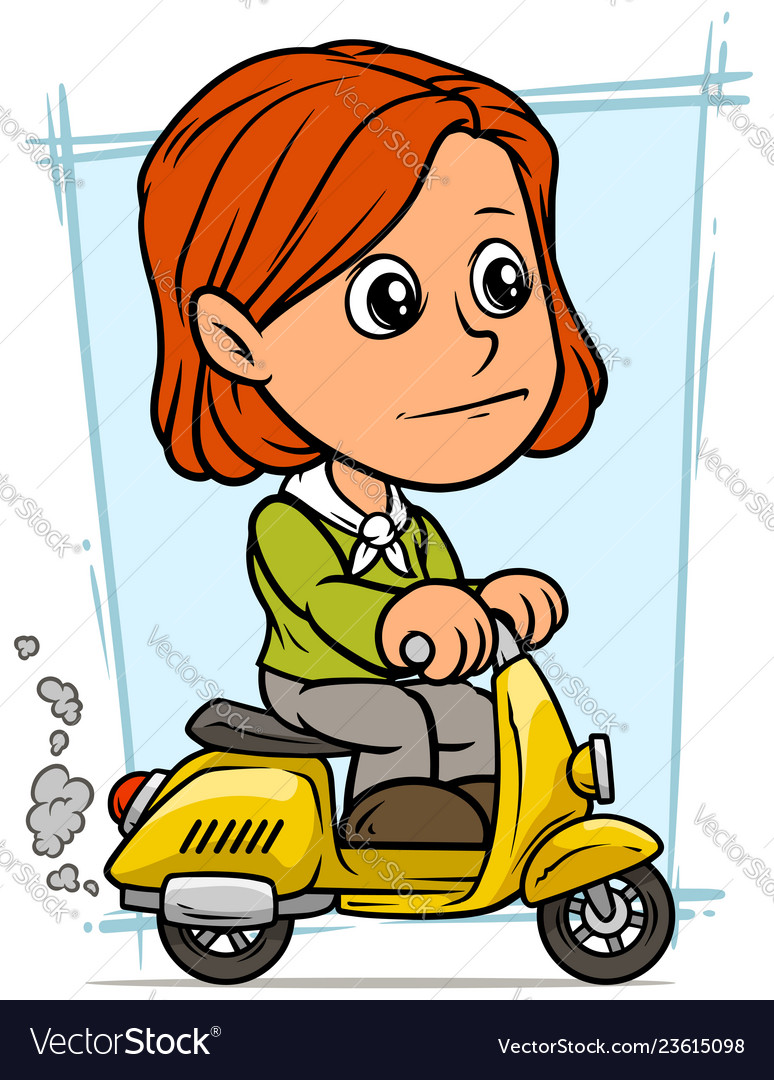 Cartoon redhead girl character riding on scooter