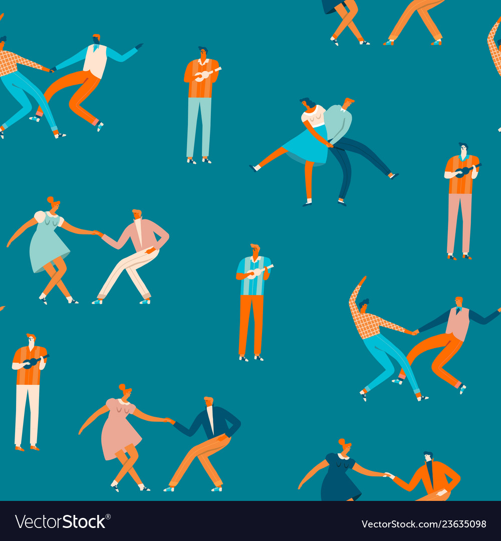 Dancing couples people seamless pattern in