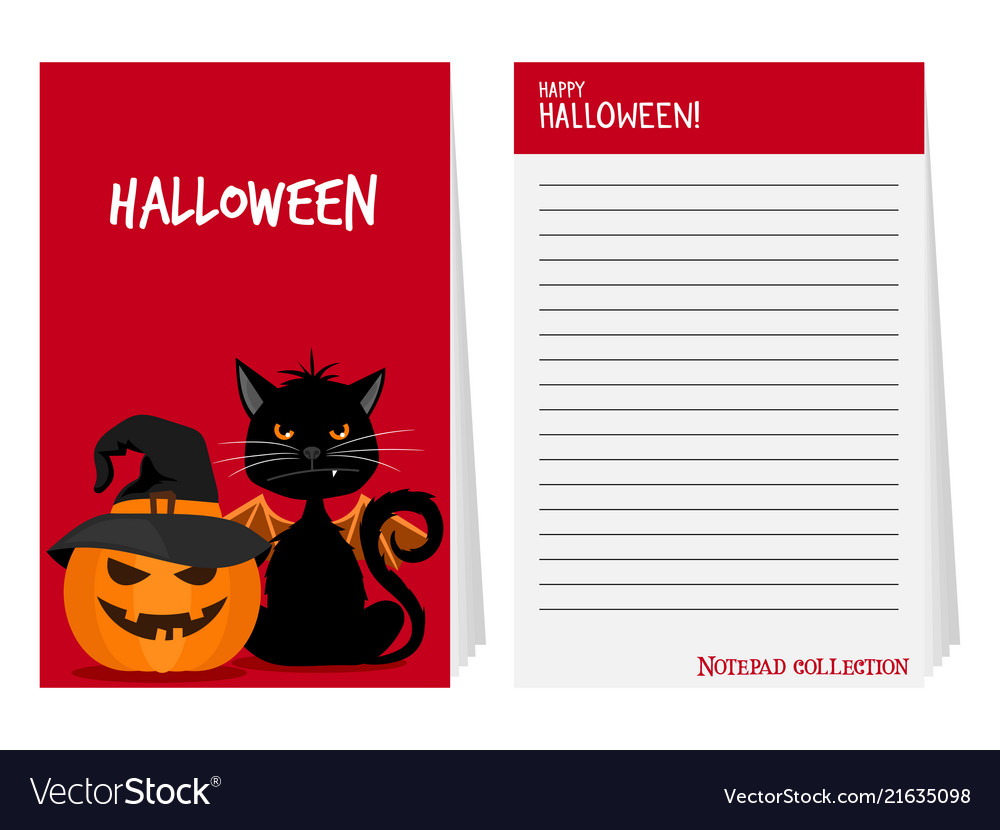 Halloween notepad with black cat and pumpkin