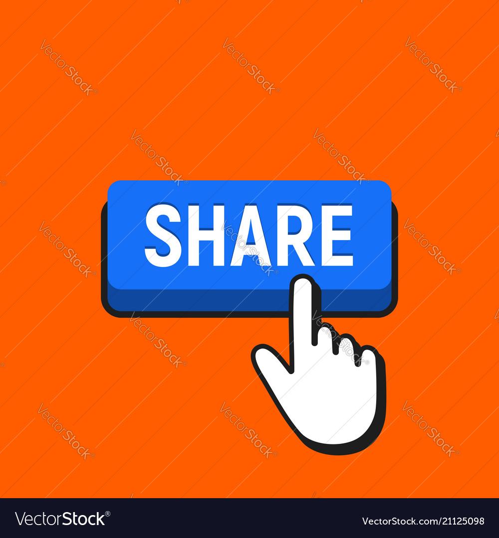 Hand mouse cursor clicks the share button