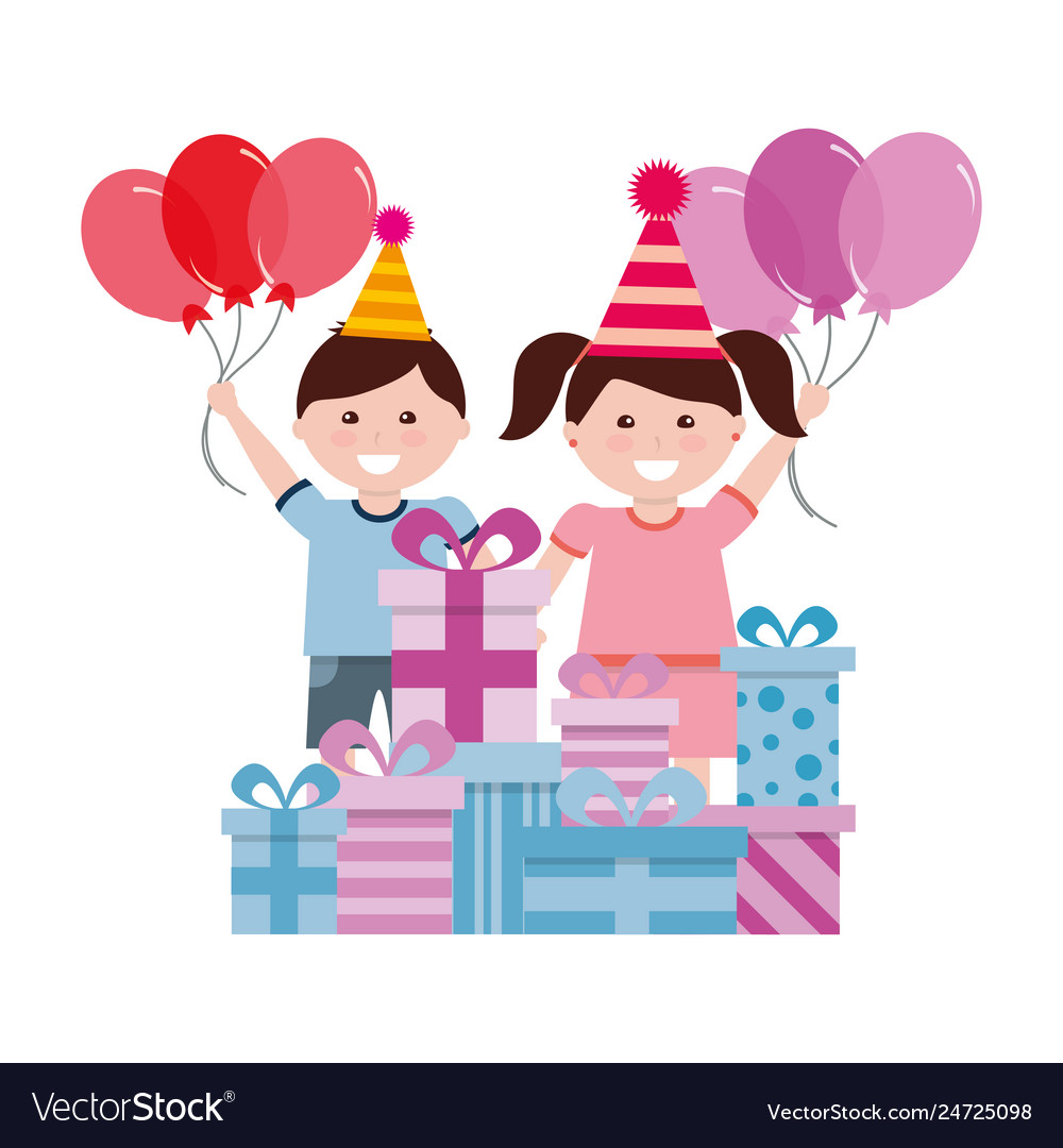 Happy Boy And Girl With Birthday Gifts Celebration Vector Image
