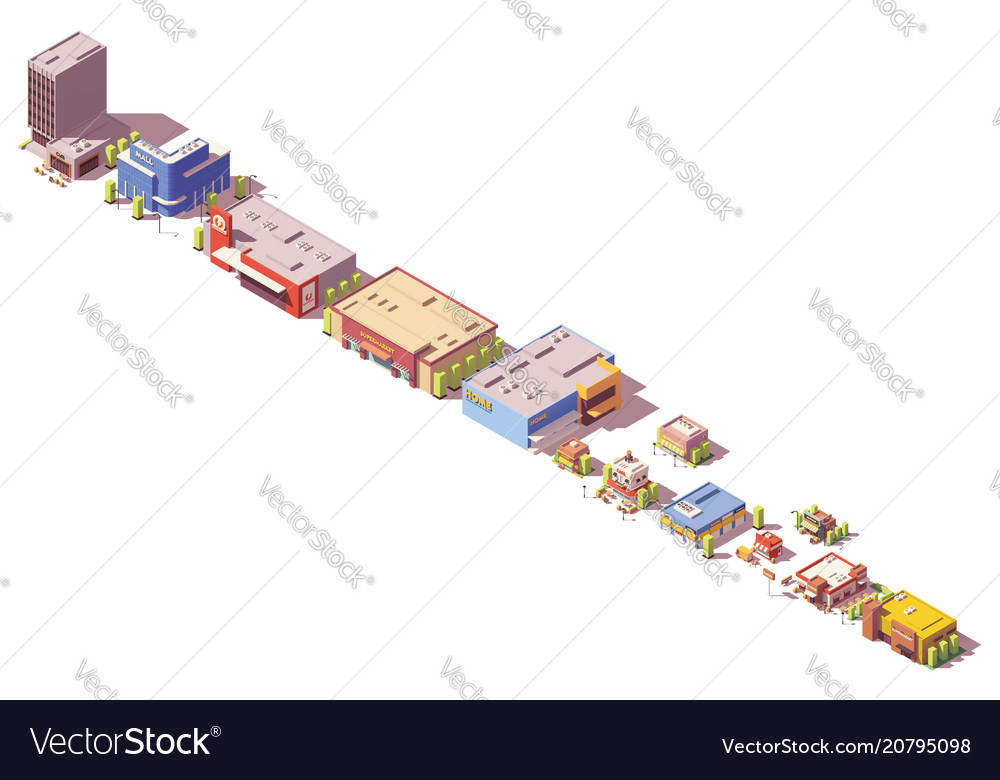 Low poly isometric stores and restaurants