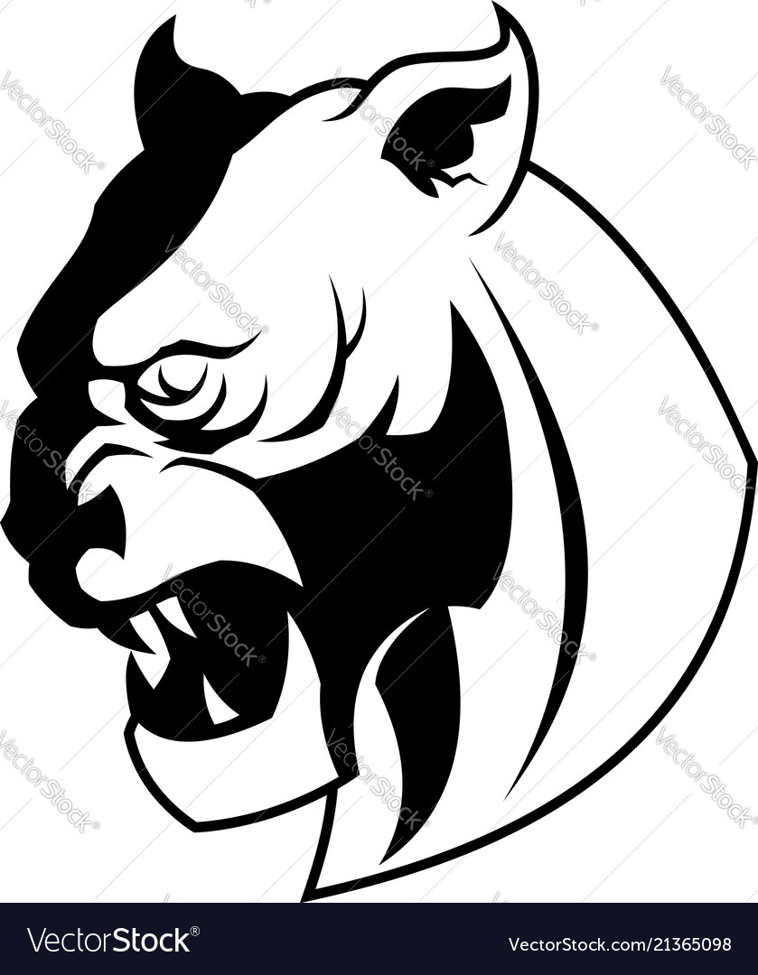 lynx wild cat head silhouette royalty free vector image