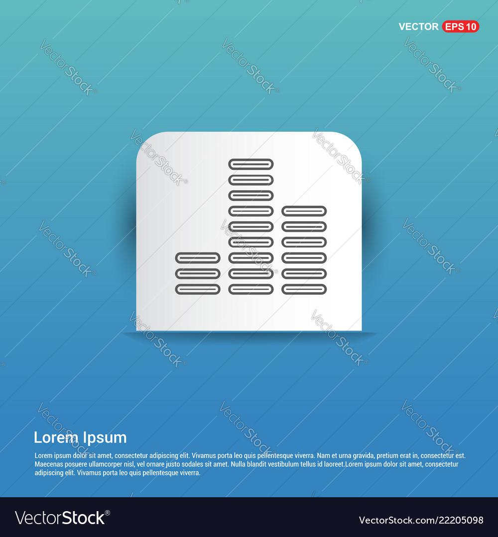 Music sound wave icon - blue sticker button
