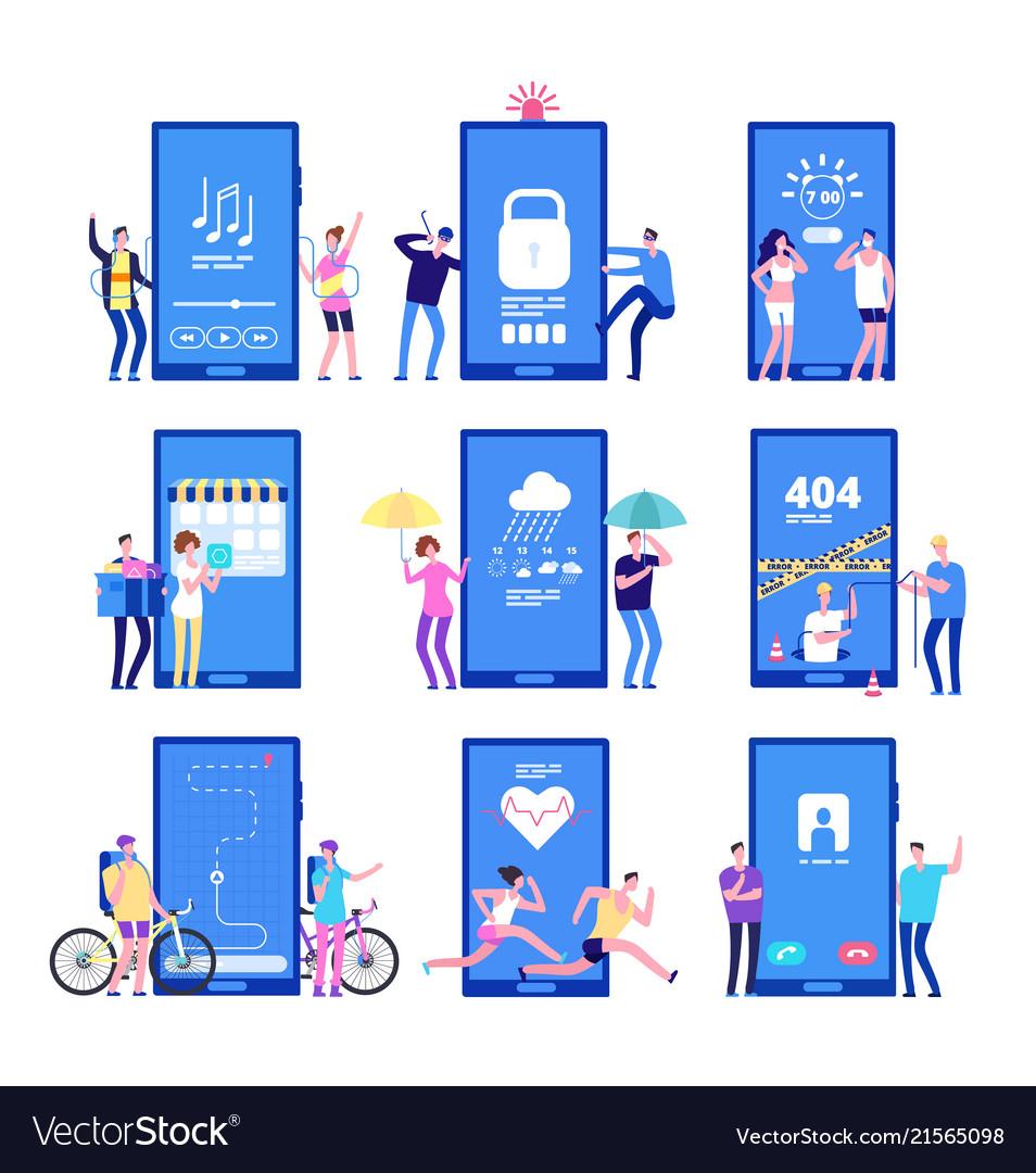Phone app concept men and women standing near big