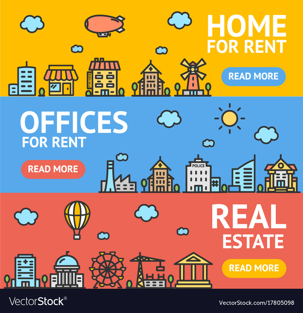 Real estate flyer banner posters card set