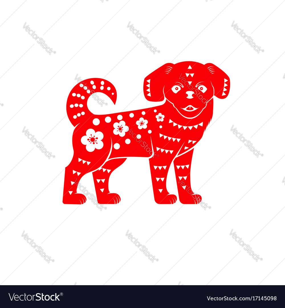Red chinese dog on the white background