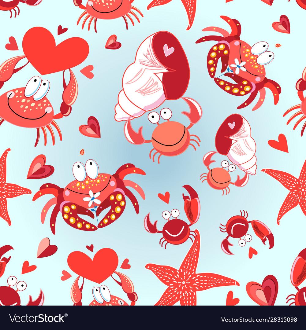 Seamless bright pattern loving crabs