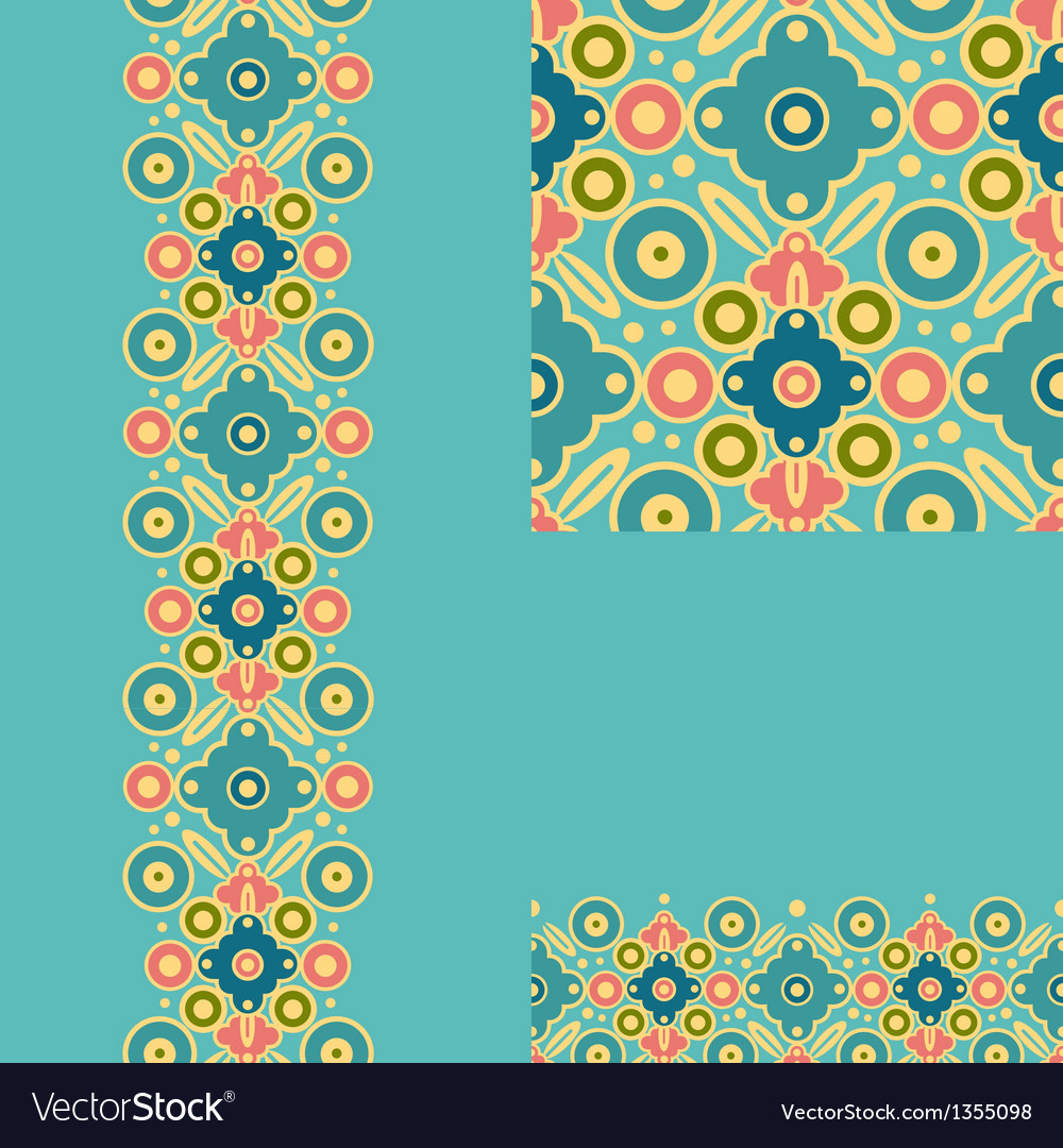 Set of geometric seamless pattern and borders