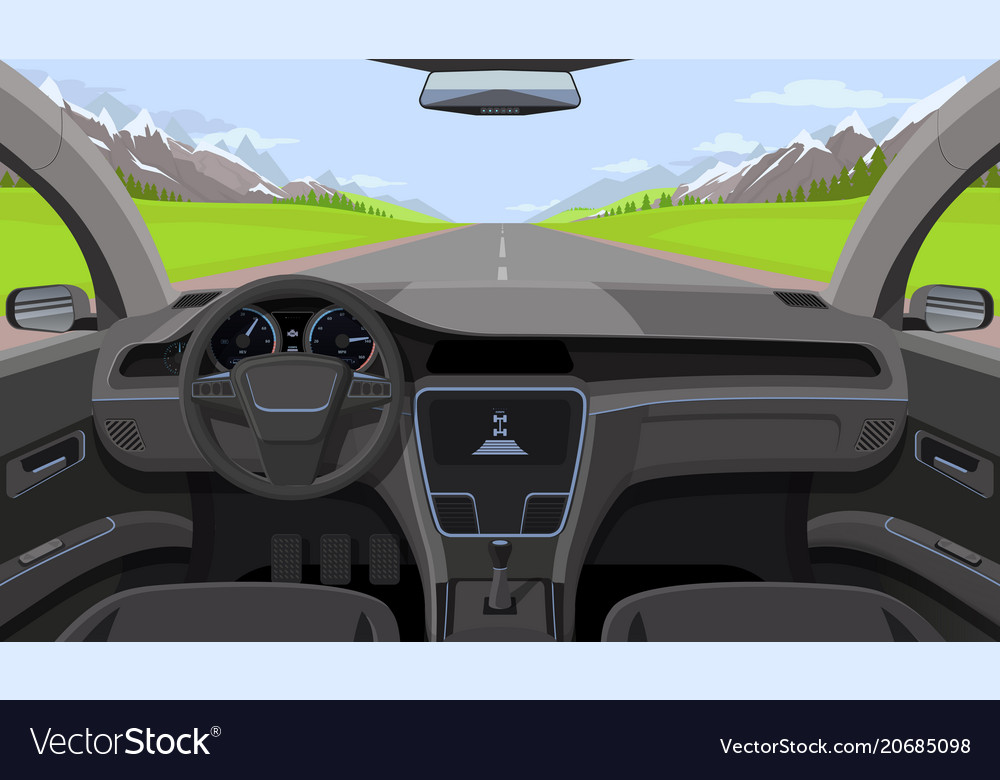 Vehicle salon inside car driver view with rudder vector image