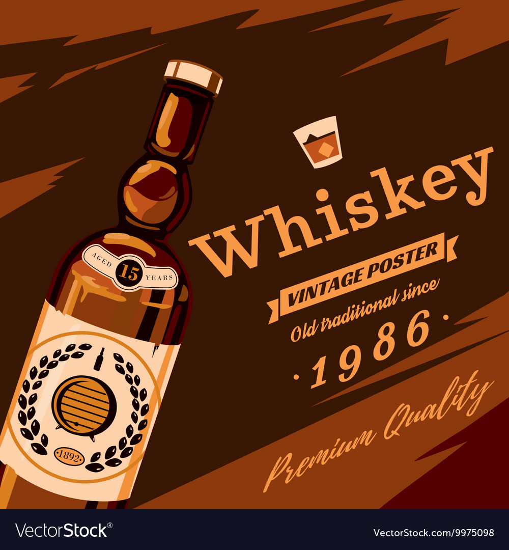 Whisky or whiskey glassware bottle retro poster