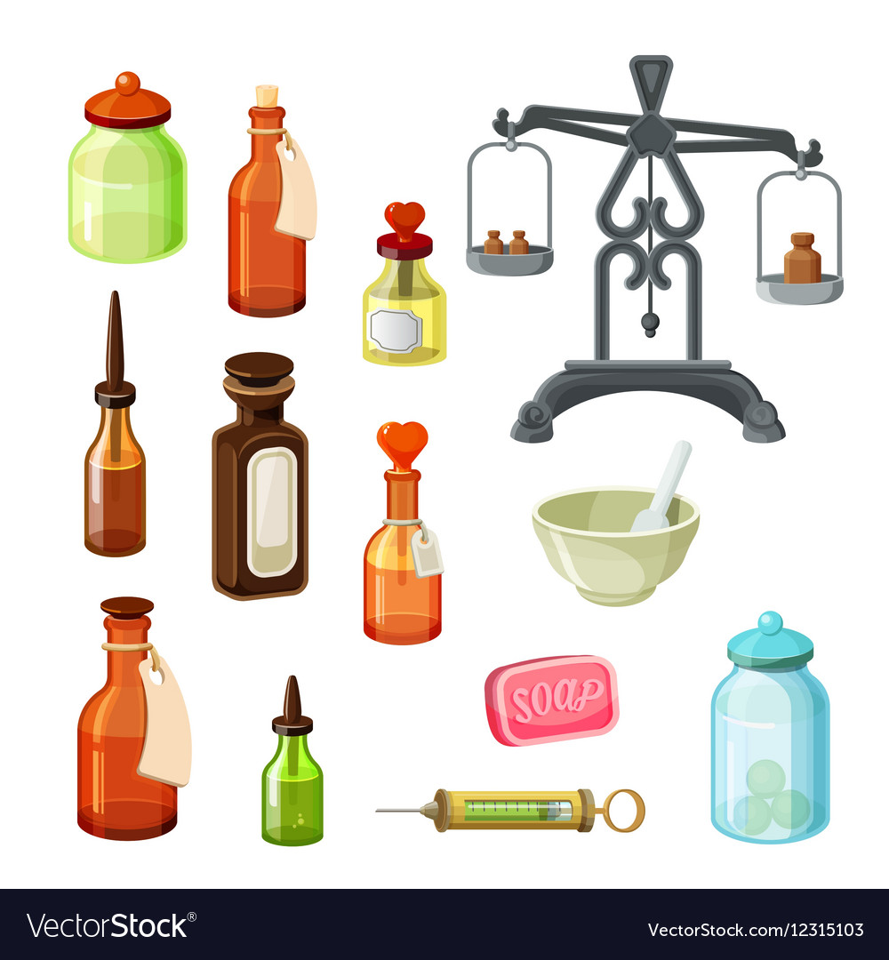 Apothecary set Vintage medicine bottles