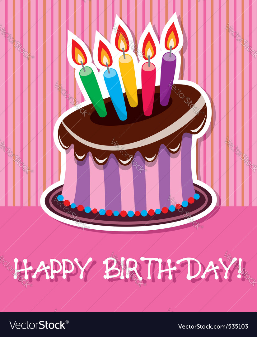 Birthday chocolate cake with burning candle