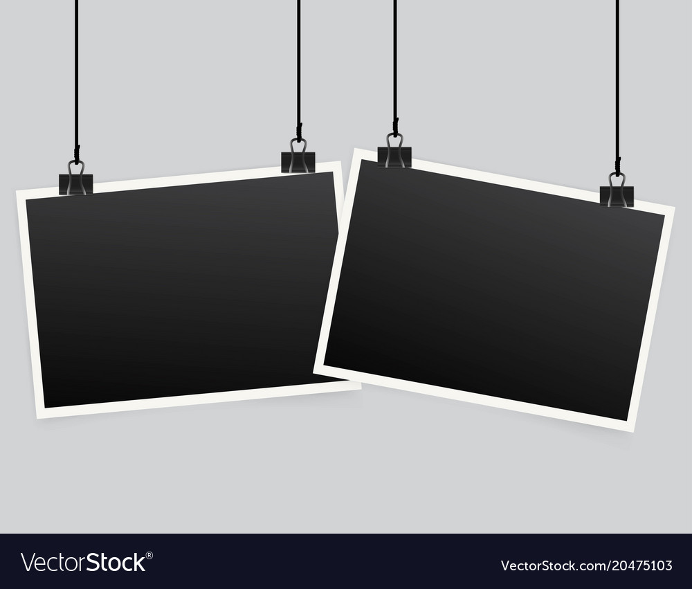 Blank photo frame set hanging on a clip retro Vector Image