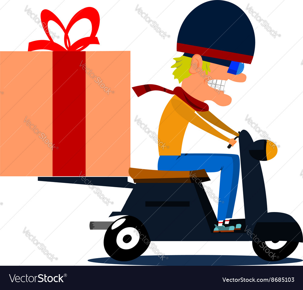Cartoon moped driver with cargo