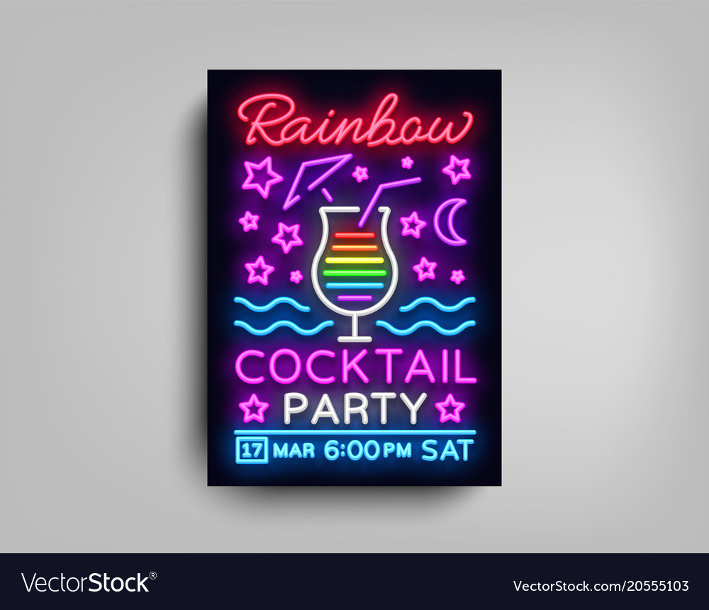cocktail party poster template rainbow royalty free vector